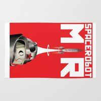 soviet Area & Throw Rugs featuring Retro Soviet minimalism space robot by Cardula