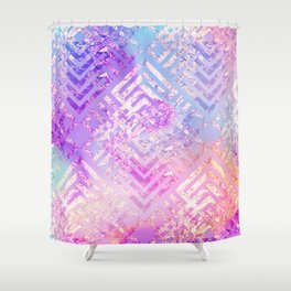 Holographic Glam - Geometric Pattern on Holo Effect Background Shower Curtain