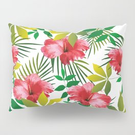 Hibiscus Flower and Leaf Pillow Sham