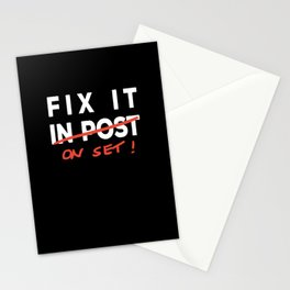 Fix it in Post - Fix it on Set Funny Film TV Crew Stationery Cards