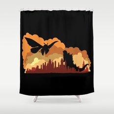 Godzilla versus Mothra cityscape Shower Curtain