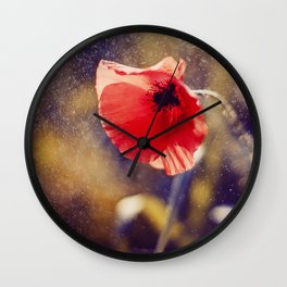 Red Poppy On Violet Wall Clock