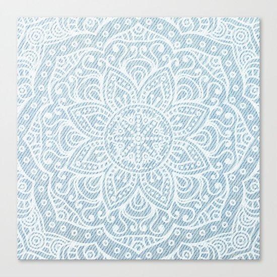 Mandala on Light Blue Jeans Canvas Print