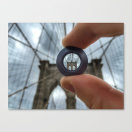 Brooklin Bridge lens Canvas Print