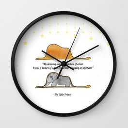 The Little Prince, under stars, a hat or a boa constrictor? Wall Clock