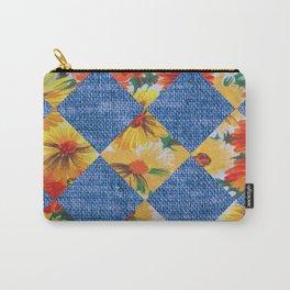 Orange Floral Print Argoyle Carry-All Pouch
