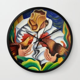 Farmer with roosters Wall Clock