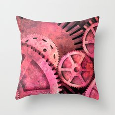 Steampink Pink Steampunk Gears Throw Pillow