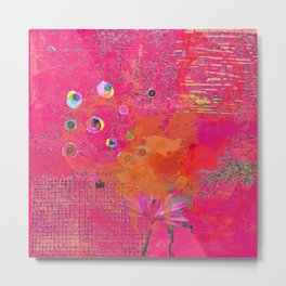 Hot Pink & Orange Abstract Art Collage Metal Print