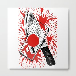 Dexter - Blood Slide and Knife Metal Print
