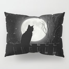 Silent Night Cat and full moon Pillow Sham