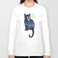 ouija Long Sleeve T-shirts featuring Ouija Cat by Kiki Stardust