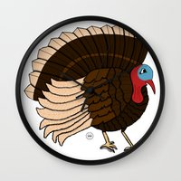 thanksgiving Wall Clocks featuring Thanksgiving Turkey by Yatasi