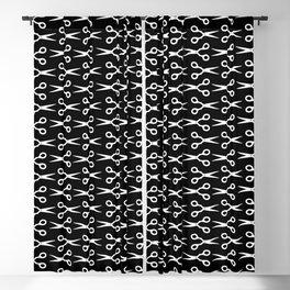 White Scissors Pattern Blackout Curtain
