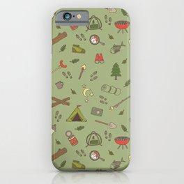 Camping Campsite Outdoor Adventures Pattern iPhone Case