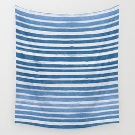 Blue Foil Stripes Wall Tapestry