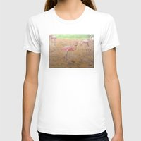 flamingos T-shirts featuring flamingos by Heidi Fairwood