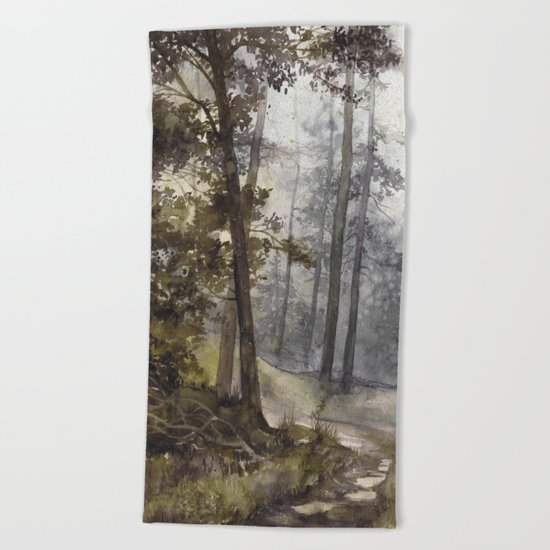 Wet Morning in the Forest Beach Towel