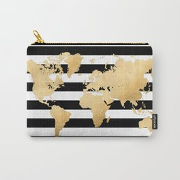 Gold world map black and white stripes Carry-All Pouch
