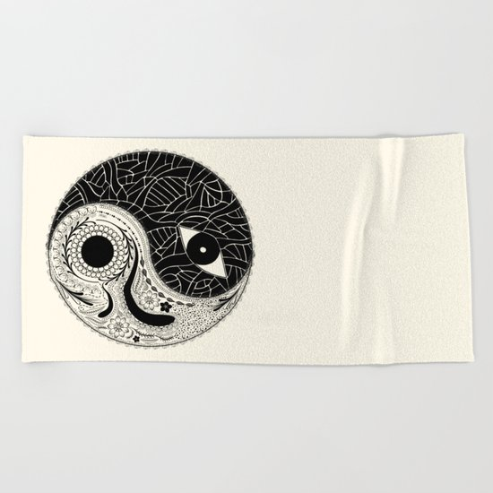 Yin & Yang - [collaborative art with Magdalla del Fresto] Beach Towel