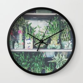 green bamboo plant in the vase pattern background Wall Clock