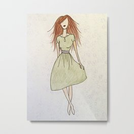 Girl with the Green Dress Metal Print