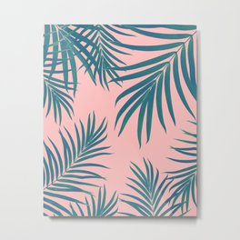 Palm Leaves Pattern Blush Vibes #1 #tropical #decor #art #society6 Metal Print