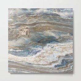 Pearly Blue Swirl Marble Metal Print