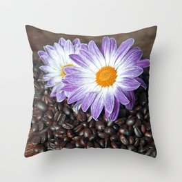 COFFEE with VIOLET DAISY Throw Pillow