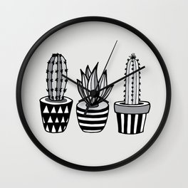 Cactus Plant monochrome cacti nature greyscale illustration floral succulent leaf home wall decor Wall Clock