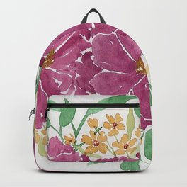 """""""Japanese Maple & Blueberry"""" loose floral bouquet watercolor illustration Backpack"""