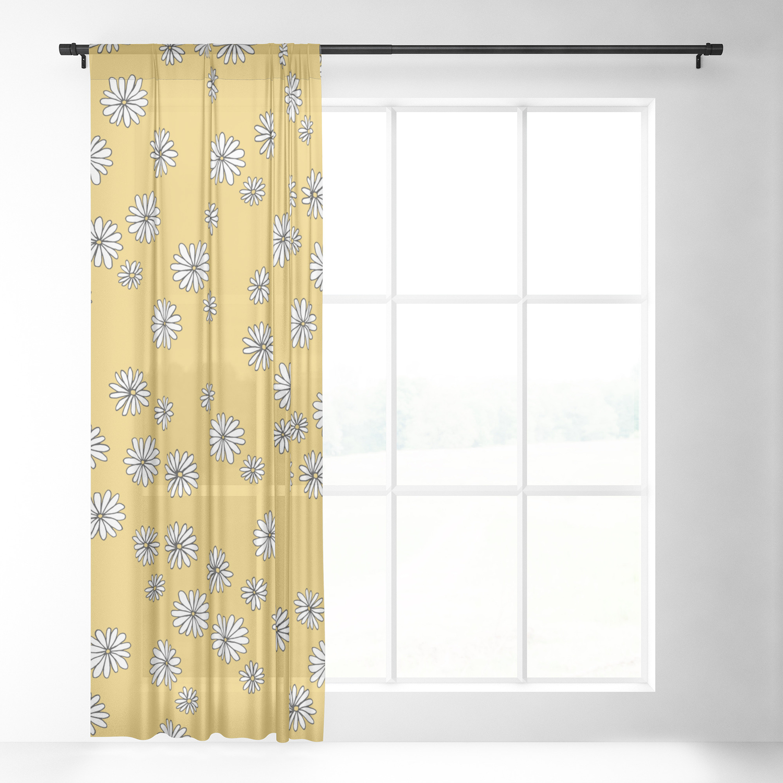 Daisy Garden Sweet S Baby Nursery Pattern Ochre Yellow Sheer Curtain By Littlesmilemakersstudio