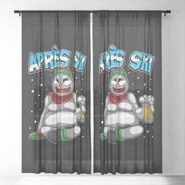 Apres Ski Snowman - Ski Lodge Skiing Snowboard Sheer Curtain