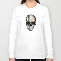 finland Long Sleeve T-shirts featuring Dark Skull with Flag of Finland by Jeff Bartels