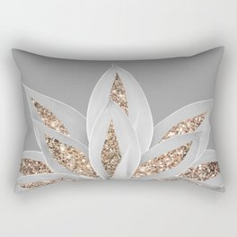 Gray Agave with Gold Glitter #1 #shiny #tropical #decor #art #society6 Rectangular Pillow