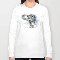 snow leopard Long Sleeve T-shirts featuring snow leopard by KOSTART