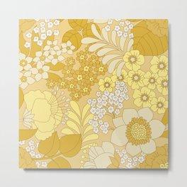 Yellow, Ivory & Brown Retro Floral Pattern Metal Print