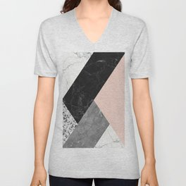 Black and White Marbles and Pantone Pale Dogwood Color Unisex V-Neck