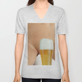 Beer and Naked Woman Unisex V-Neck