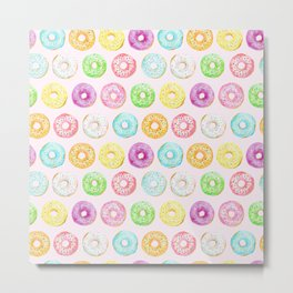 Watercolor pink sprinkle donuts Metal Print