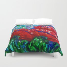 3 Poppies  by Lena Owens Duvet Cover