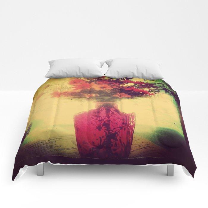 Vintage Flowers of August Comforters