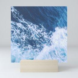 Blue and White Ocean Waves Mini Art Print