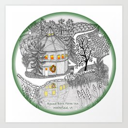 Round Barn Inn, Waitsfield, Vermont near Sugarbush- Zentangle illustration Art Print