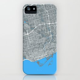 Toronto Map | Canada | Grey & Blue | More Colors, Review My Collections iPhone Case