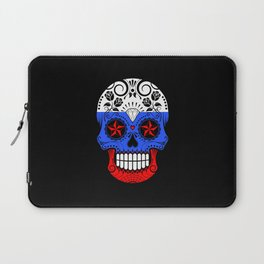 Sugar Skull with Roses and Flag of Russia Laptop Sleeve