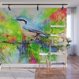 Watercolor Spring Bird Wall Mural