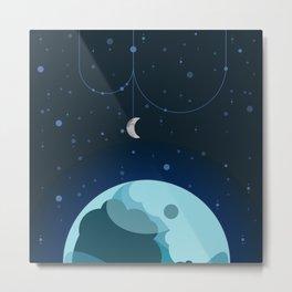 Moon and Planet Metal Print
