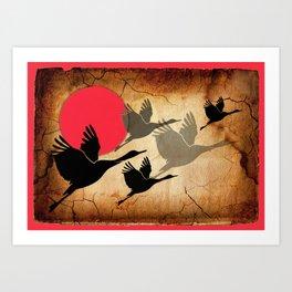 Flying cranes Art Print