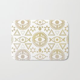 Geometric Evil Eye Metallic Bath Mat